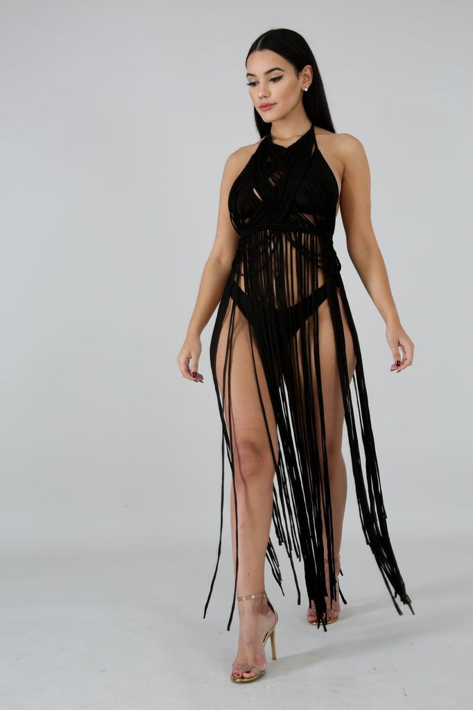 Black String Fringe Cover-up