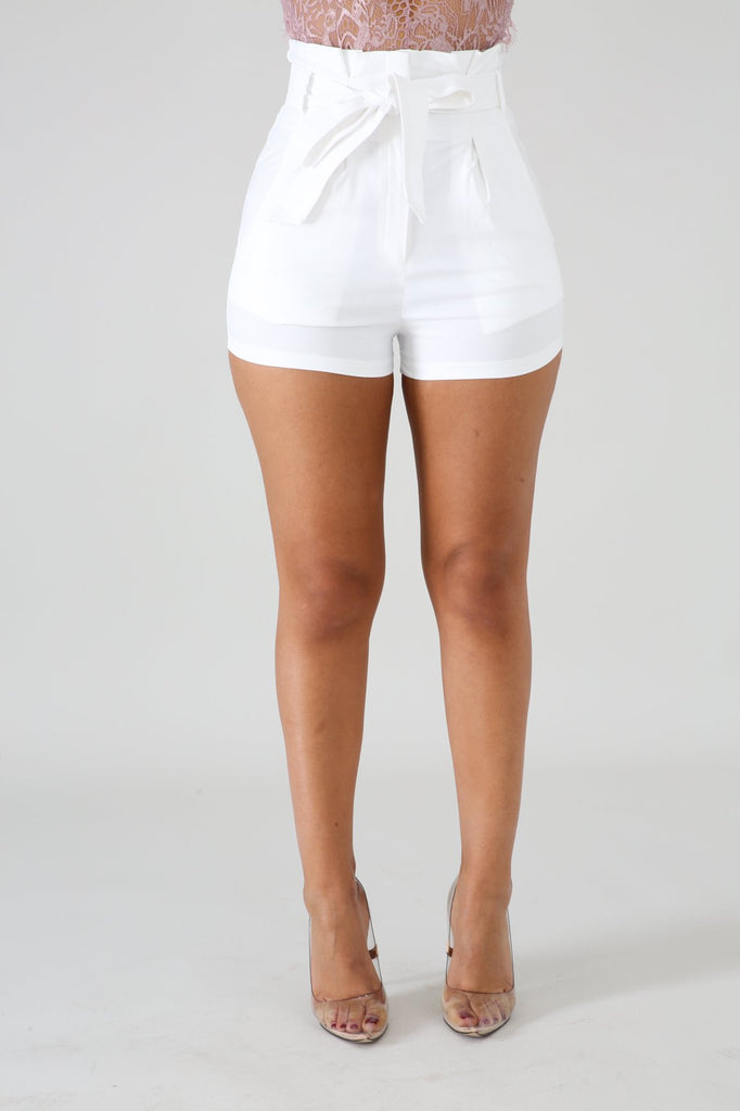 White High Waist Paper Bag Shorts