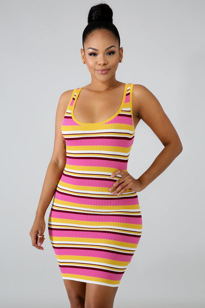 Pink Multi-Stripe Knit Mini Dress
