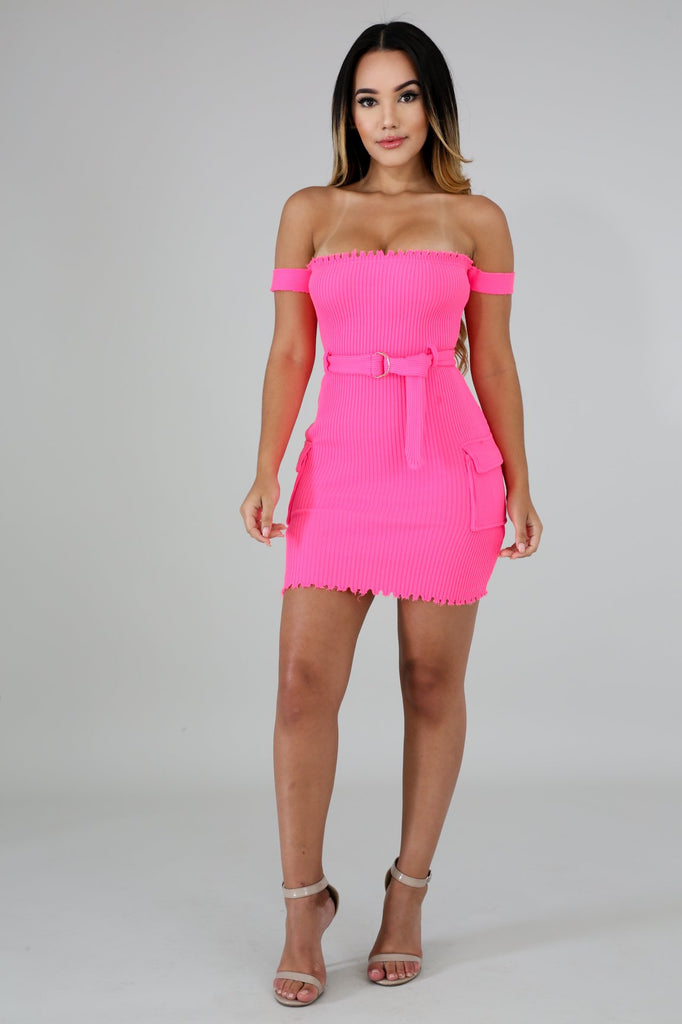 Pink Ribbed Distressed Edge Tube Mini Dress