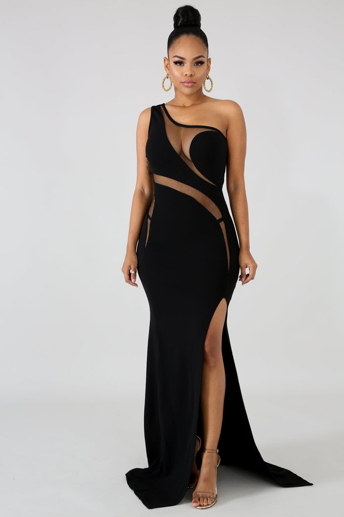Black Mesh Panel Slit Leg Maxi Dress