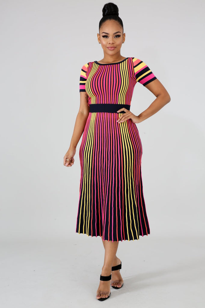Codigo Multi-Stripe Bodycon Midi Dress