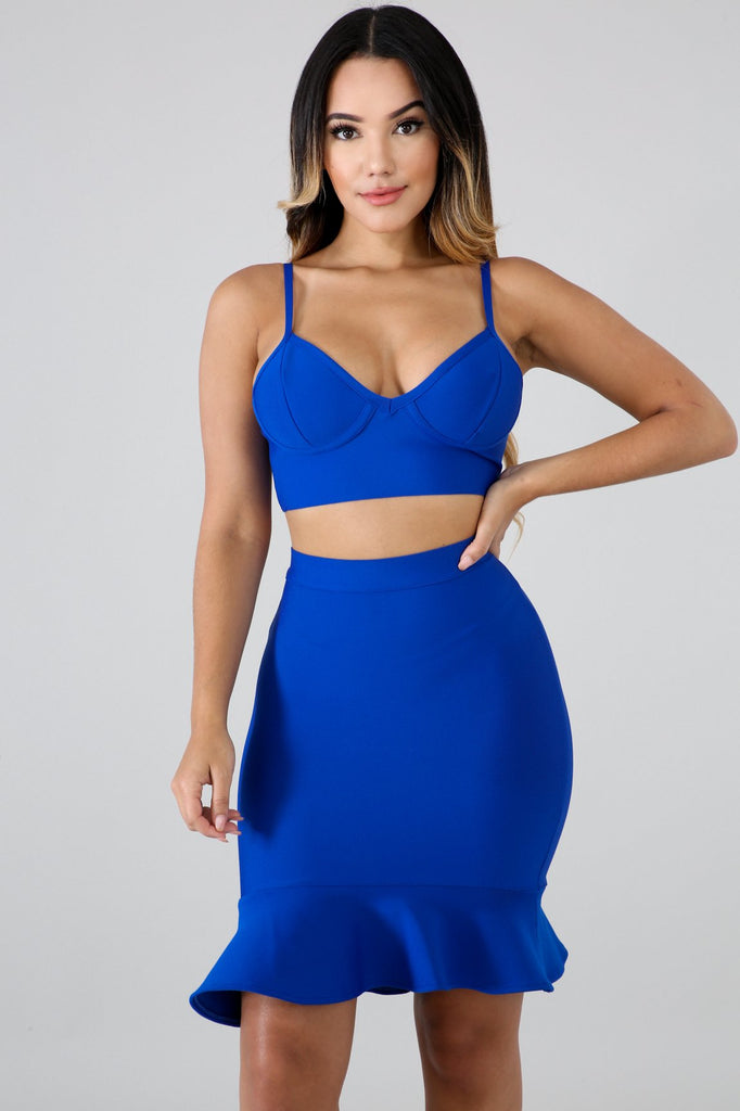 Blue Bandage Ruffle Hem Skirt Set