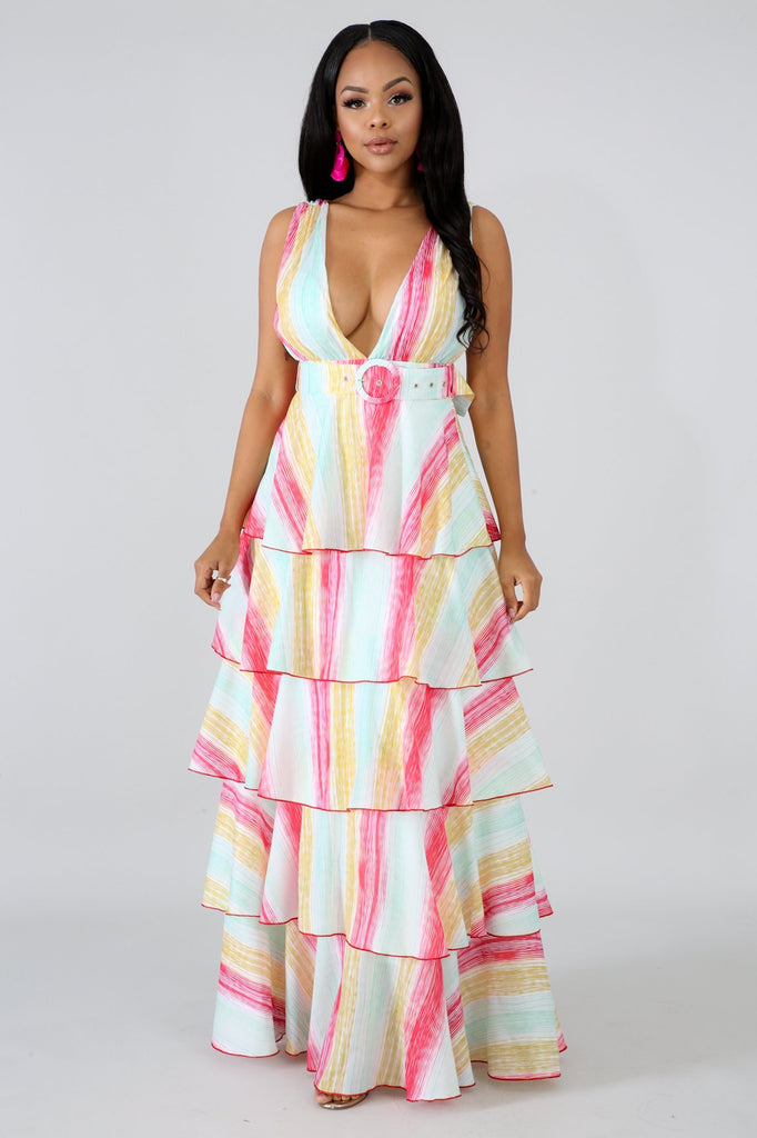 Tiered Ruffle Stripe Maxi Dress