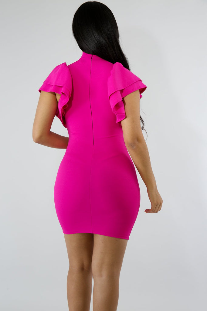 Marlie Tiered Ruffle Sleeve Body-Con Mini Dress