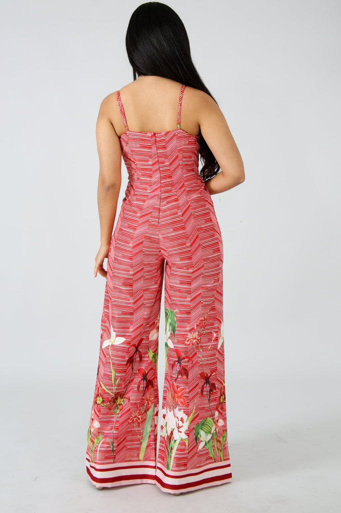 Shiela Red Lilium Print Jumpsuit