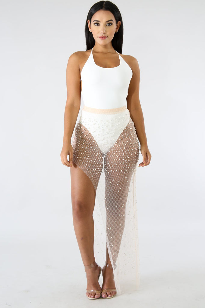 White Mesh Pearl Skirt