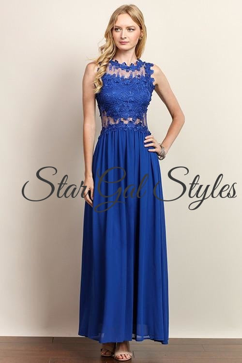 Lillian Royal Blue Chiffon Maxi Dress