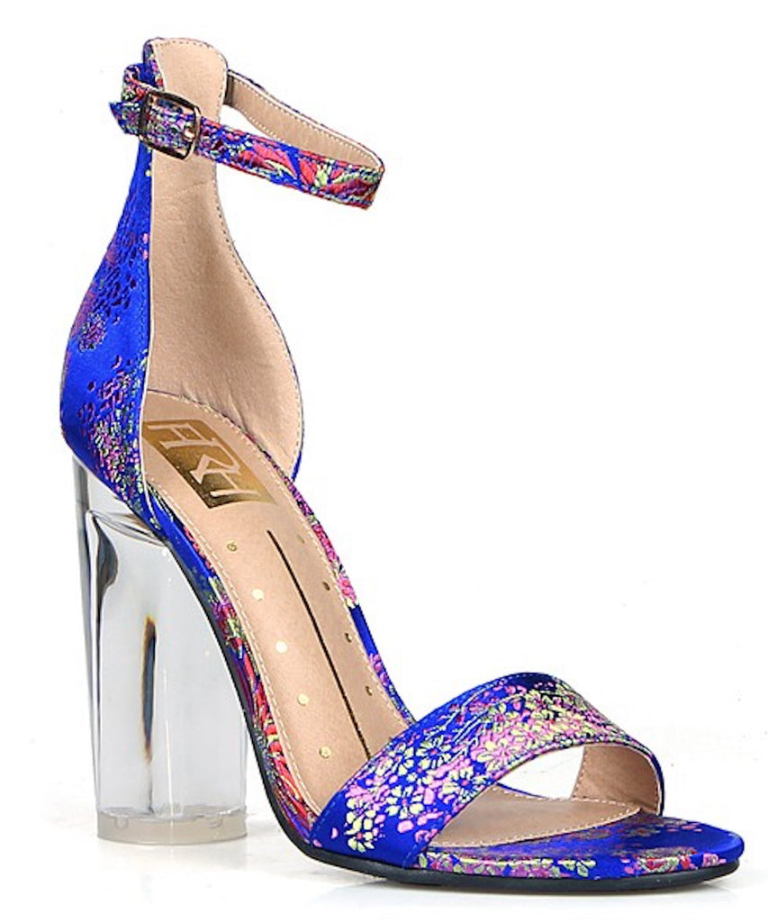 Rosy Blue Floral Print Single Sole Heel