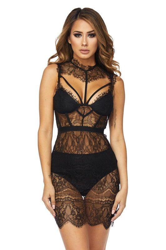 Royce Black Lace Bralette Dress - Final Sale