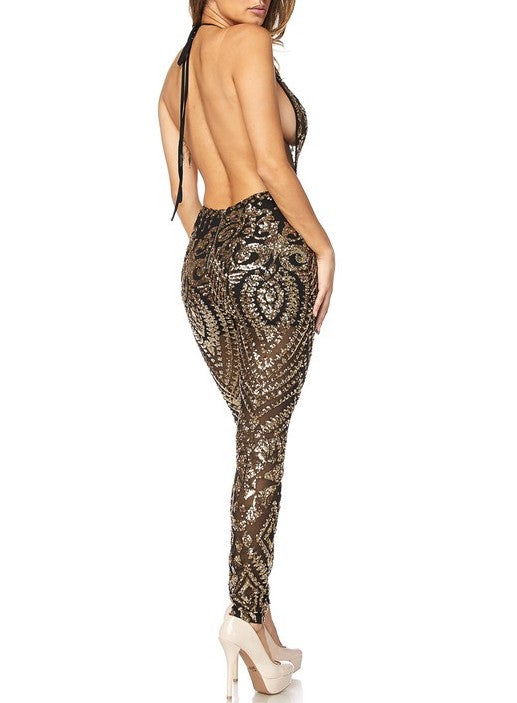 Black Gold Sequin Sheer Jumpsuit