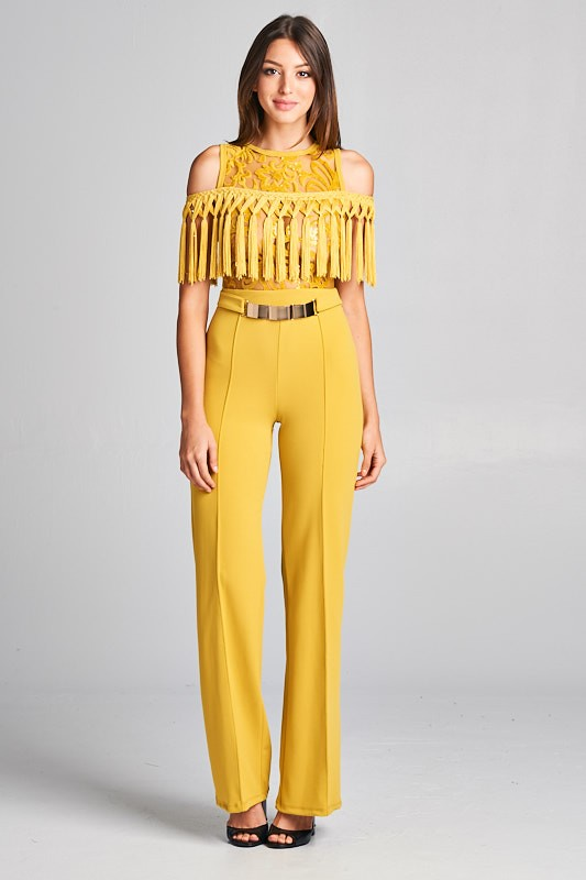 Cold Shoulder Fringe Wide Leg Jumpsuit - Mustard Yellow