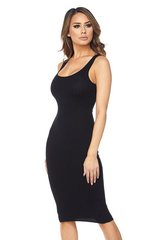 Black Ribbed Knit Midi Bodycon Dress