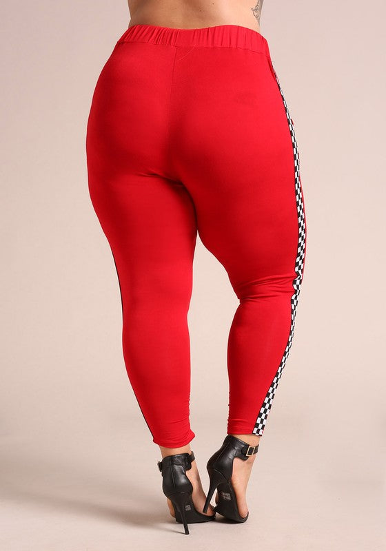 PLUS SIZE Red Checkered Side Jogger Pant