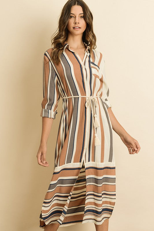 Stripe Button Down Shirt Dress