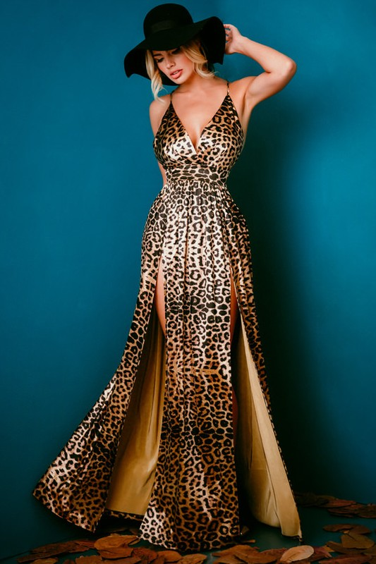 Leopard Print Double High Slit Maxi Dress