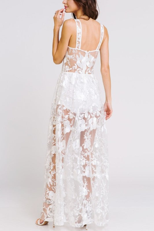 White Floral Lace Sheer Maxi Dress