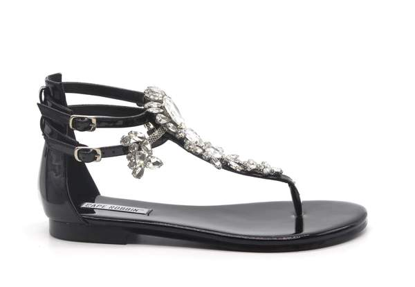 Aurora Black Rhinestone Sandals