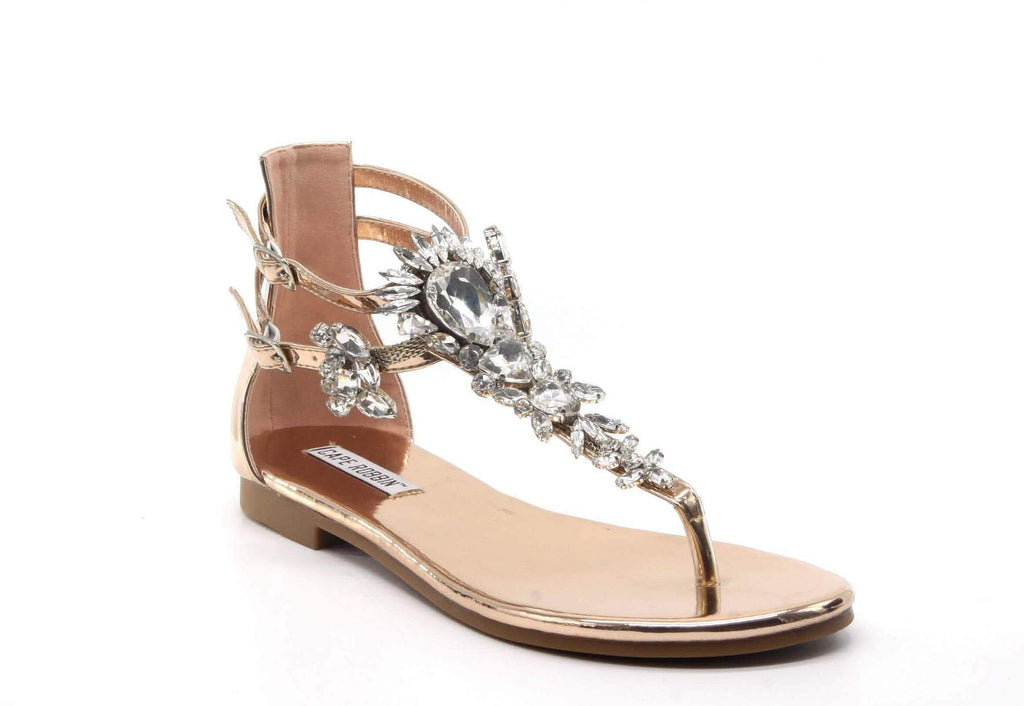 Aurora Rose Gold Rhinestone Sandals