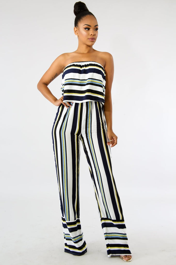 Raina Multi-Blue Stripe Strapless Jumpsuit