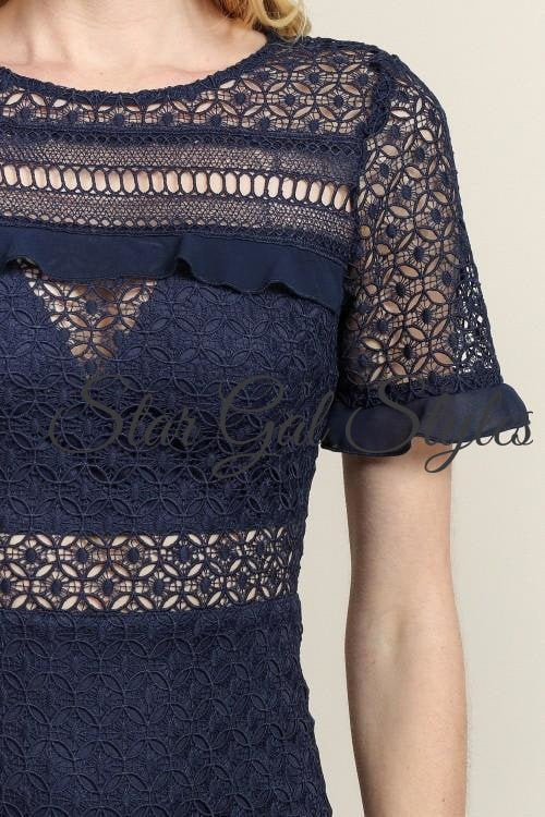 Sabrina Navy Lace Dress