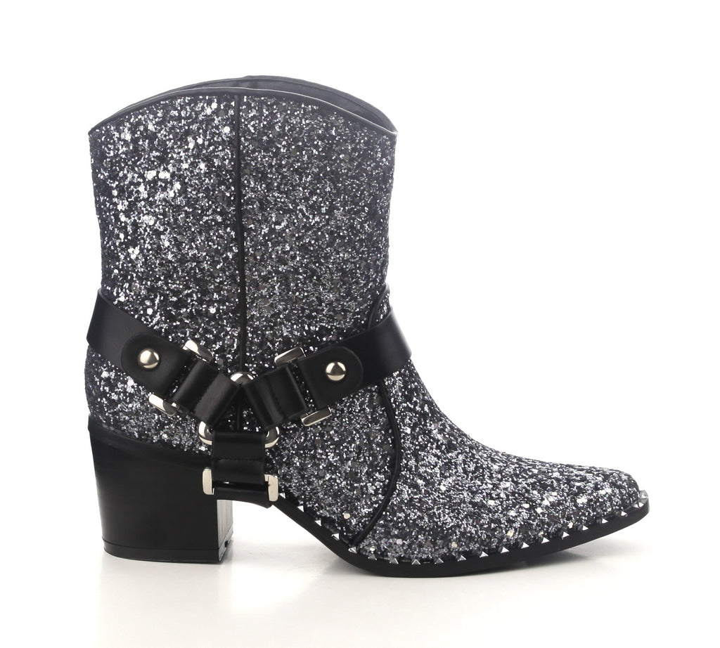Fighter Silver Glitter Ankle Boots