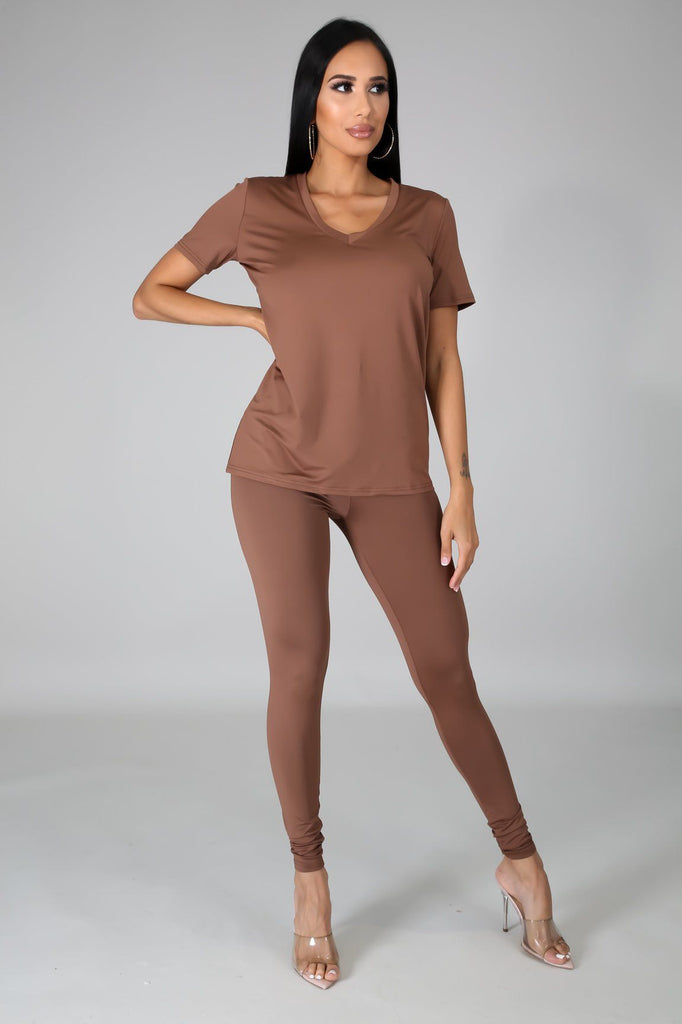 Nova Taupe Jersey V-Neck Top & Legging Set