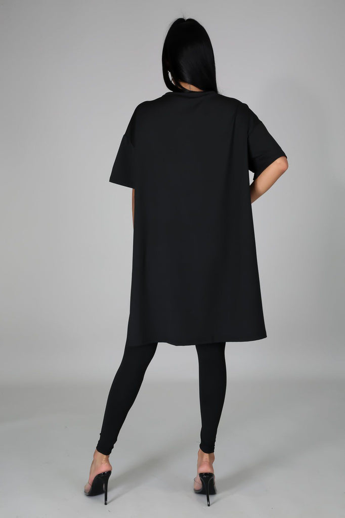 Nahlia Black Oversized Tunic & Legging Set