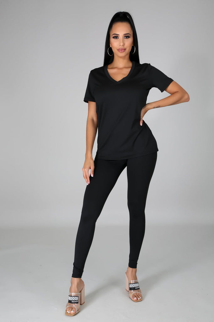 Nova Black Jersey V-Neck Top & Legging Set