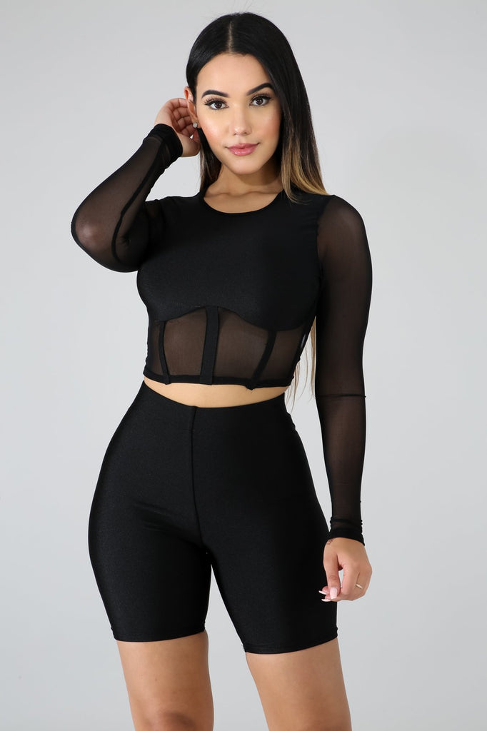 Black Sporty Biker Short Set