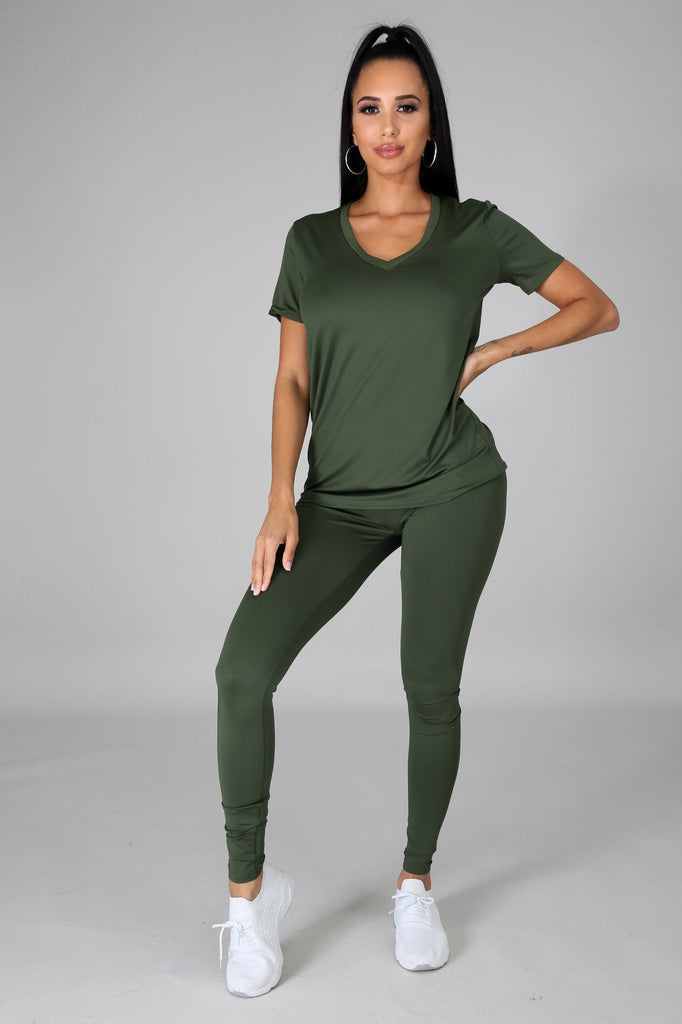 Nova Olive Green Jersey V-Neck Top & Legging Set