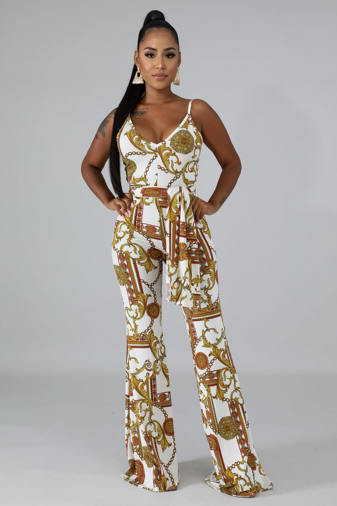 White Medallion Print Wide Leg Jumpsuit