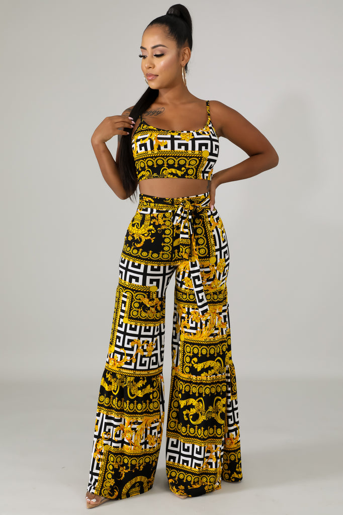 Filigree & Maze Printed Wide Leg Pant Set