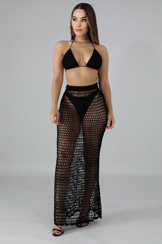 Black Crochet Skirt Set