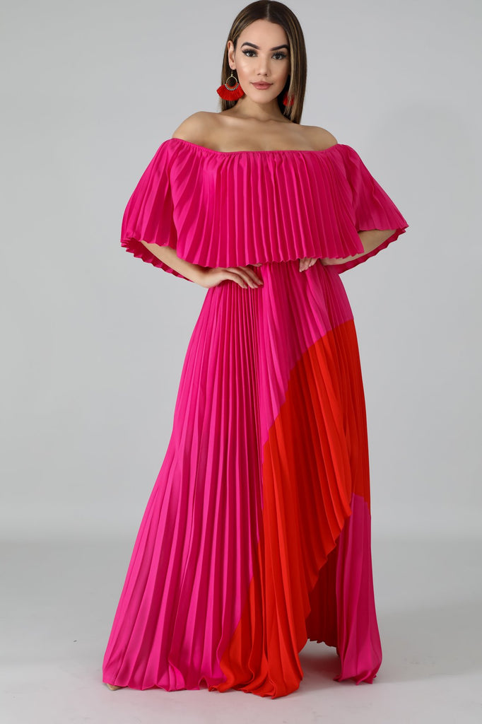 Pink Ombre Pleated Maxi Dress