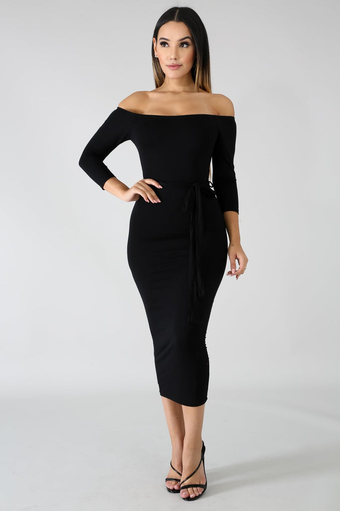 Black Off The Shoulder Jersy Midi Dress