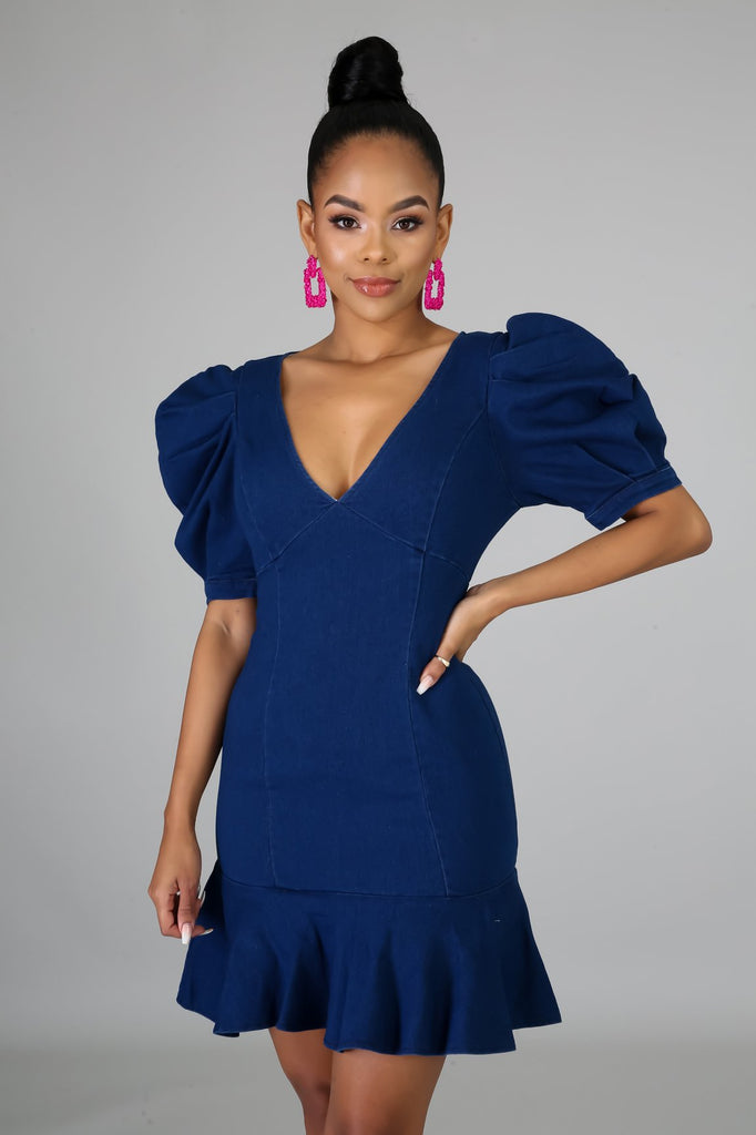 Valencia Denim Ruffle Dress