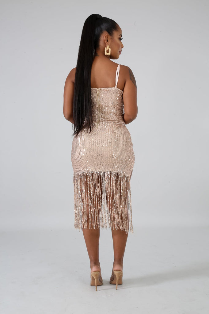Salina Rose Gold Sequins Fringe Mini Dress