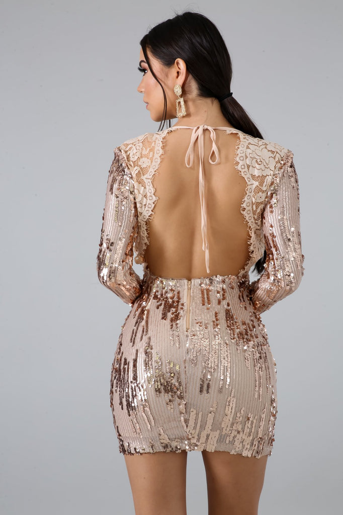 Yoli Rose Gold Sequins Lace Mini Dress
