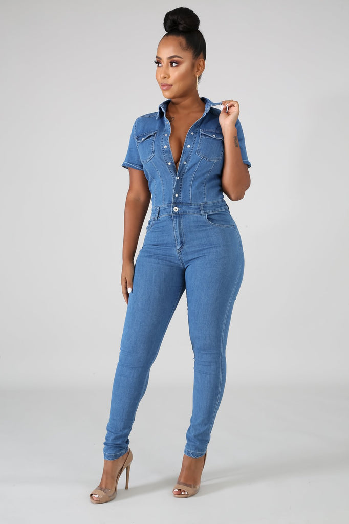 Button Front Light Wash Denim Jumpsuit