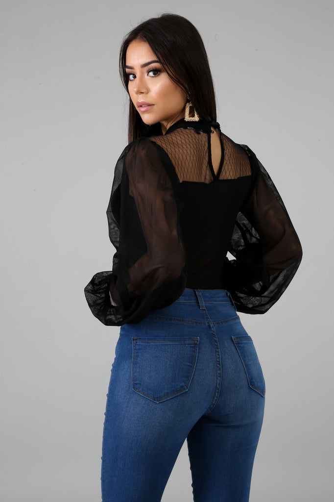 Black Sheer Puff Sleeve Bodysuit