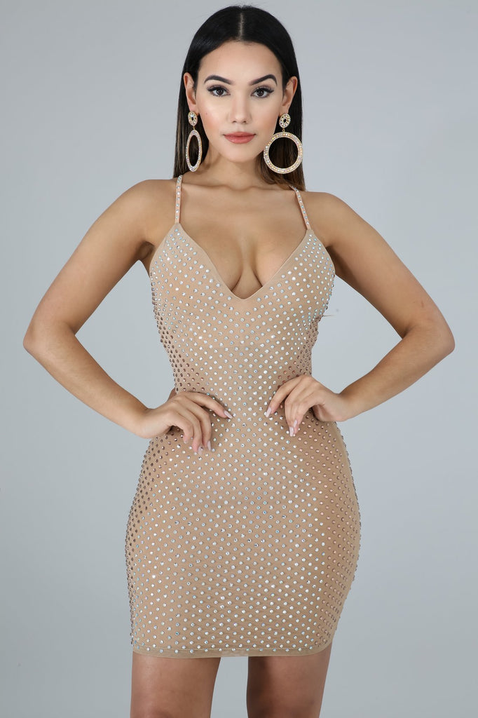 Nude Rhinestone Bodycon Mini Dress