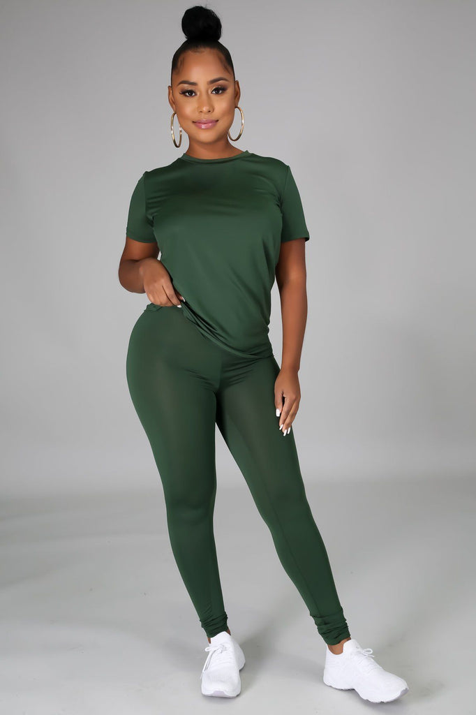 Luna Olive Green Jersey Round Neck Top & Legging Set