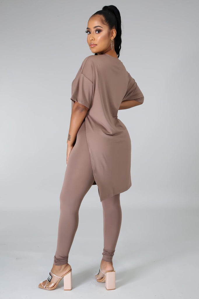 Nahlia Taupe Oversized Tunic & Legging Set