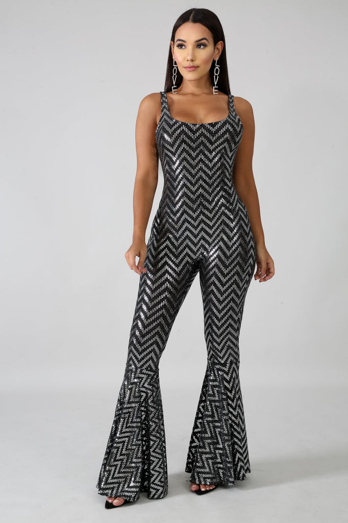 Selena Black & Silver Sequins Bell Foot Jumpsuit