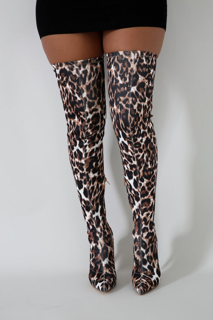 Gisele Leopard Print Thigh High Boots
