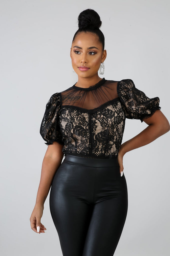 Black Crochet Lace Crop Top