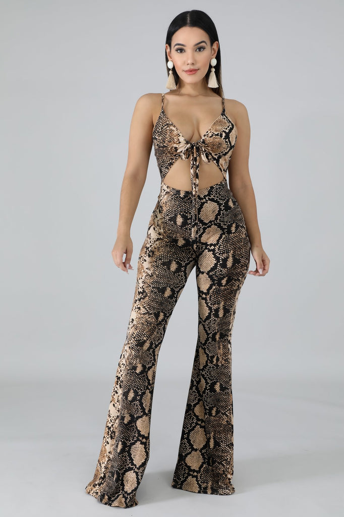 Snake Print Cut-Out Flare Leg Jumpsuit
