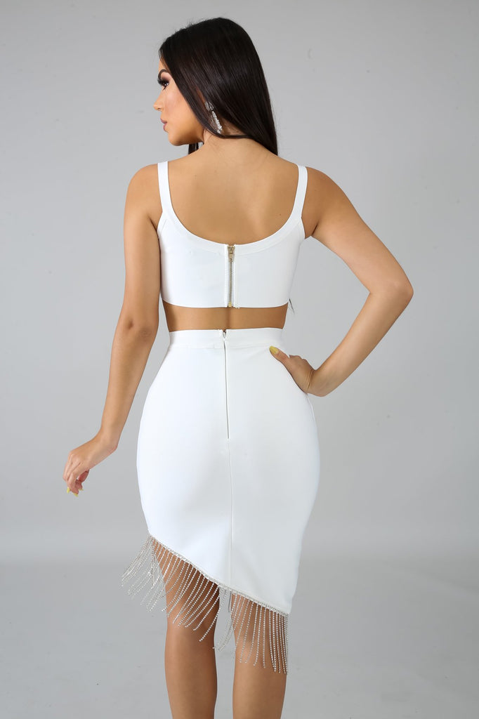 White Bandage Fringe Diamond Skirt Set