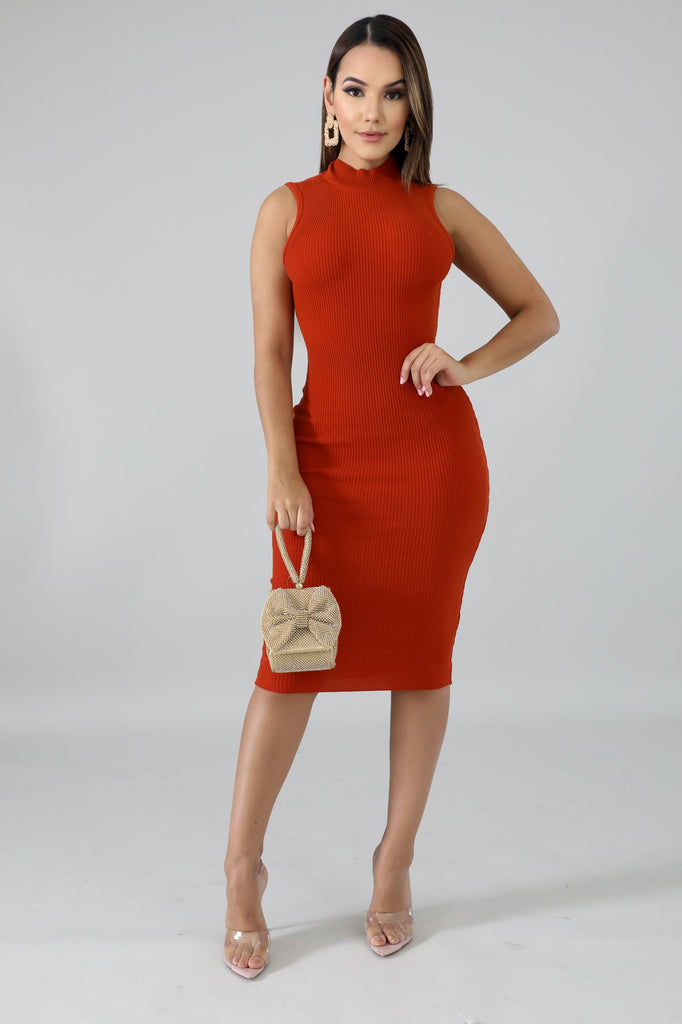 Rust Cut-Out Back Ribbed Midi Dress